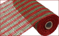 "10"" Poly Burlap Double Stripe Mesh- Red/Lime Green   SKU RP810635"