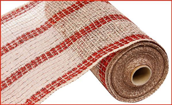"10"" Poly Burlap Tinsel Stripe Mesh- Natural/Red   SKU RP840197"