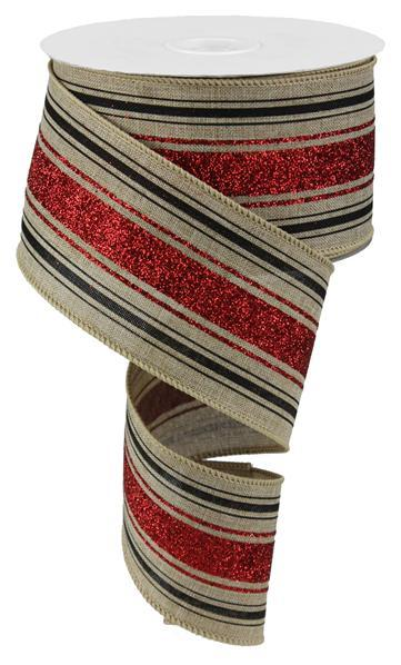 "2.5"" Vertical Stripes Ribbon- Natural/Red/Black RW762930"