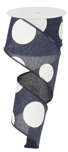 "2.5"" X 10yd Large Multi Dots Ribbon- Navy Blue/ White RX9143TR"