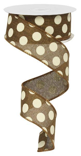 "1.5"" Polka Dot Ribbon- Brown / Ivory RX9145TX"