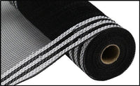"10"" Border Stripe Metallic Mesh- White/Black  SKU RE850362"