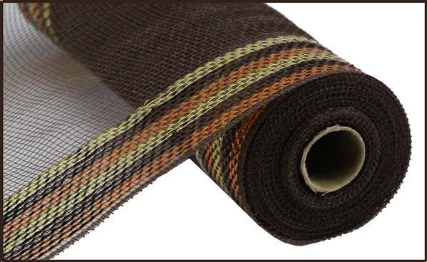 "10"" Border Stripe Metallic Mesh- Chocolate/Copper/Gold SKU RY8504H6"