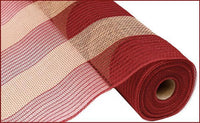 "21"" Poly Faux Jute Wide Stripe Mesh- Burgundy/Natural SKU RY930053"