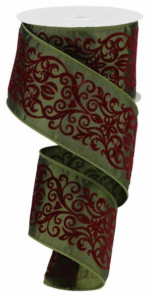 "2.5"" Glitter Heart Leaf Scroll Ribbon - Red/Green  SKU RZ0039"
