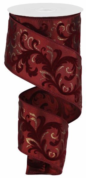 "2.5"" Glitter Heart Leaf Scroll Ribbon - Red/Silver  SKU RZ0172"