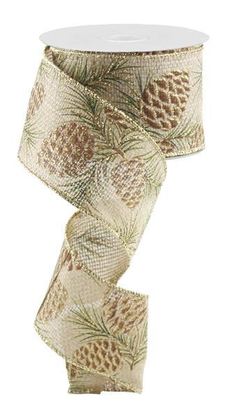 "2.5""x 50 yd  Glitter Pine Cone Ribbon - Natural/Brown/Green  SKU RZ5545"
