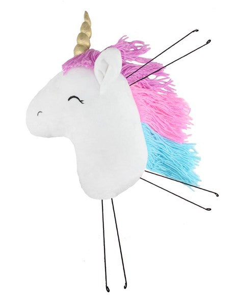 "16""H X 9""W Fabric Unicorn Head Decor-White/Lavender/Pink/Turquoise/Gold SKU MD0554"