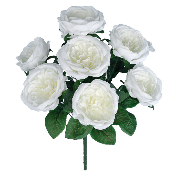 "18"" Cabbage Rose Bush- Cream SKU N-1128"