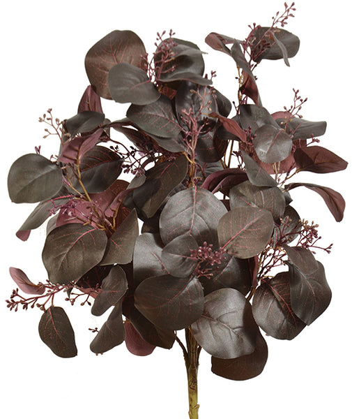 "20"" Eucalyptus Bush- Green/Burgundy  SKU PWE3396GRBU"