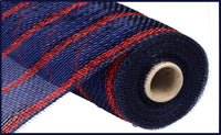 "10"" Deluxe Metallic Stripe Mesh- Navy/Royal with Laser Red   SKU RE1333HW"