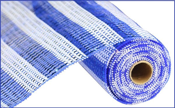 "10"" Horizontal Stripe Foil Mesh- Blue/White   SKU RE1381N6"