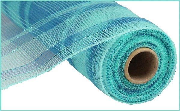 "10"" Plaid Metallic Mesh- Two Tone Aqua/Turquoise   SKU RE1383RA"