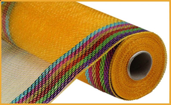 "10"" Border Stripe Metallic Mesh- Multi Brights  SKU RE850483"