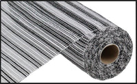 "10"" Wide Stripe Mesh- White/Black  SKU RE8901E7"
