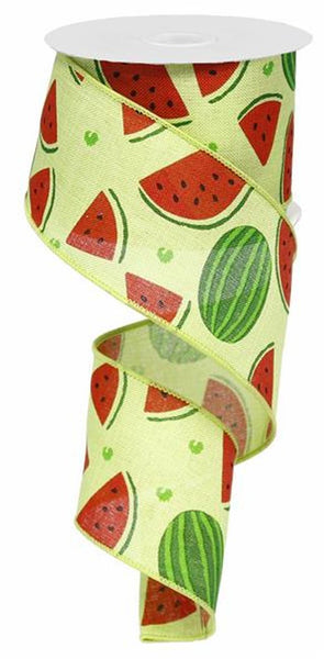 "2.5"" Watermelon Slices Linen Ribbon-Green   SKU RG0121909"