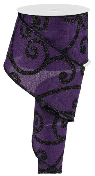 "2.5"" Bold Scroll on Royal Ribbon - Purple/Black  SKU RG0122623"