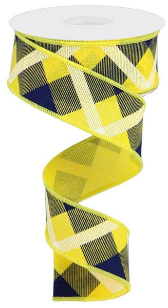 "1.5"" Printed Plaid on Royal Ribbon- Yelllow/Navy/Blue/White  SKU RG01682AT"