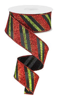"1.5"" Diagonal Glitter Stripe on Royal  Ribbon- Lime/Red/Black  SKU RG0176502"
