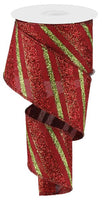 "2.5"" Diagonal Glitter Stripe on Royal Ribbon- Burgundy/Red/Lime  SKU RG0176605"