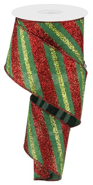 "2.5"" Diagonal Glitter Stripe on Royal Ribbon- Emerald/Red/Lime  SKU RG0176606"