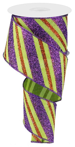 "2.5"" Diagonal Glitter Stripe on Royal Ribbon- Purple/Orange/Lime  SKU RG017669K"