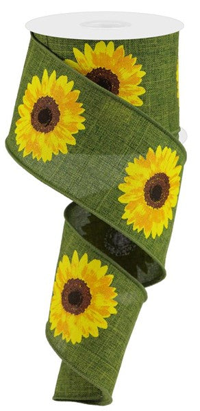 "2.5"" Bold Sunflower on Royal Ribbon- Moss/Yellow/Orange/Brown  SKU RG0181352"