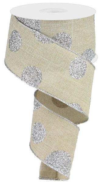 "2.5"" Glittered Multi Dots On Royal Ribbon- Natural/Silver  SKU RG0182918"