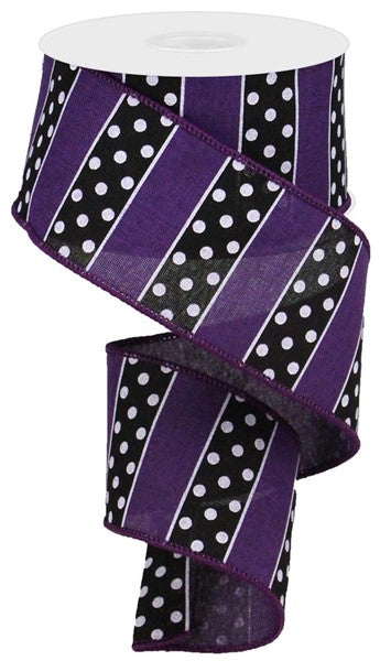 "2.5"" Polka Dot Stripes Ribbon-Purple/Black/White    SKU RG0196823"