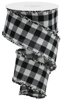 "2.5"" Woven Flannel Check Ribbon- White/Black   SKU  RG08045X6"