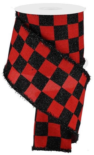 "4""  Glitter Check on Royal Ribbon- Black/Red  SKU RG0805124"