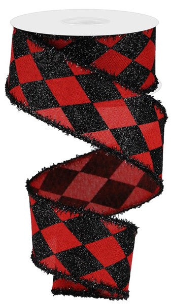 "2"" Harlequin Check on Royal Ribbon -Red/Black  SKU RG0805224"
