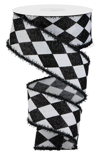 "2"" Harlequin Check on Royal Ribbon -White/Black  SKU RG0805227"