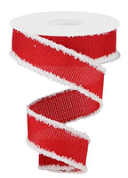 "1.5"" Cross Royal Burlap Snowdrift Ribbon- Bright Red/White  SKU RG0807924"