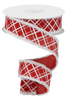 "1.5""  Line Check on Royal Snowdrift Ribbon-Red/White  SKU RG0809824"