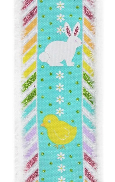 "2.5""  Chick & Bunny on Royal Snowdrift Ribbon- White/Pink/Green/Orange/Yellow SKU RG08165J7"