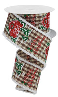 "2.5""  Christmas Gingham Barn on Royal Snowdrift Ribbon- Brown/Ivory/Red/Green SKU RG08354TX"