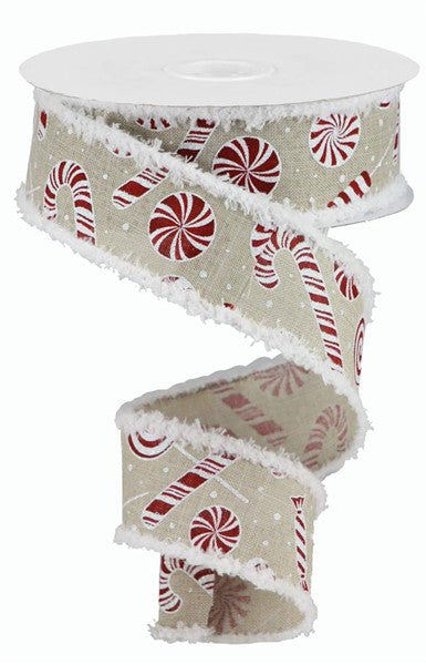 "1.5"" Candy Cane/Peppermint Snowdrift Ribbon - White/Red/Light Natural SKU RG0839618"
