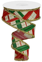 "1.5""  Two Tone Stripe Check w/Tinsel Ribbon- Cream/Red/Green/Gold  SKU RG08573C2"
