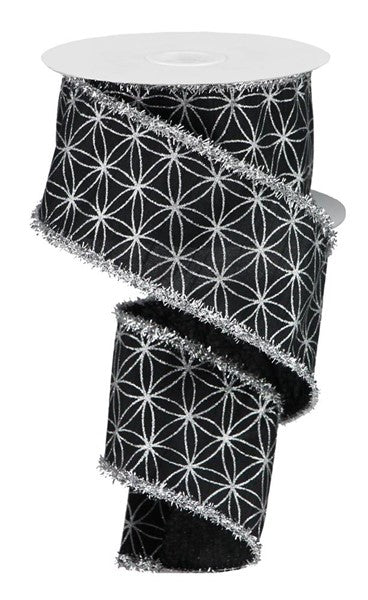 "2.5"" Seamless Stars and Tinsel Ribbon-Black/Silver   SKU RG0862987"