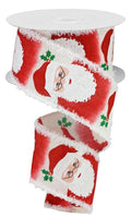"2.5"" Santa on Snowdrift Ribbon-Cream/Red/Green   SKU RG08646C2"