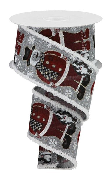 "2.5"" Santa Snowman w/Dog Snowdrift Ribbon-Grey/Black/Red/Orange/Brown SKU RG08660NJ"