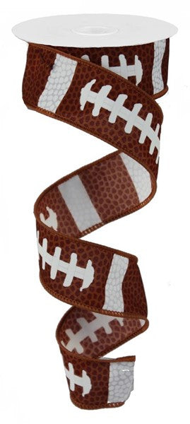 "1.5"" Football Laces Ribbon-Brown/White   SKU RG1092"