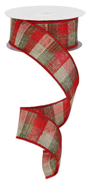 "1.5"" Small Multi Check Ribbon-Red/Moss/Green/Cream  SKU  RG1214GY"