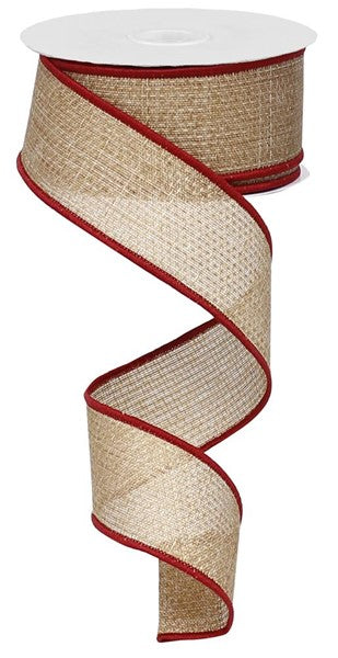 "1.5"" Cross Royal Burlap Ribbon- Beige/Burgundy  SKU RG127501"