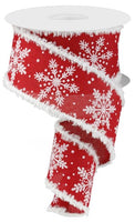 "2.5"" Glittered Snowflakes Snowdrift Ribbon- Red /White/Silver  SKU RG874724"