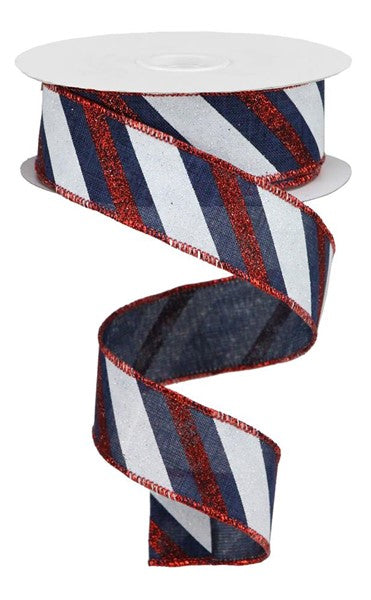 "1.5"" Diagonal Glitter Stripe Ribbon- Navy Blue/Red/White SKU RGA107519"