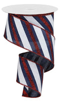 "2.5"" Diagonal Glitter Stripe Ribbon- Navy Blue/Red/White SKU RGA107619"