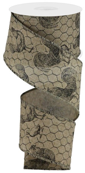 "2.5"" Rooster/Chicken Wire On Royal Ribbon-Light Beige/Black SKU  RGA1088X4"