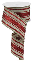 "2.5"" Glitter Farmhouse Stripe Ribbon-Natural/Red  RGA114118"